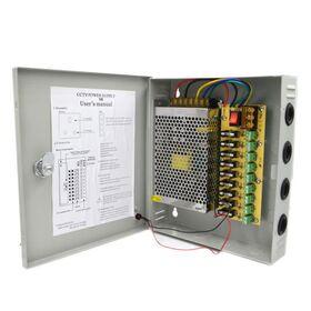 Sursa alimentare CCTV in cutie metalica 12V-15A 9 iesiri